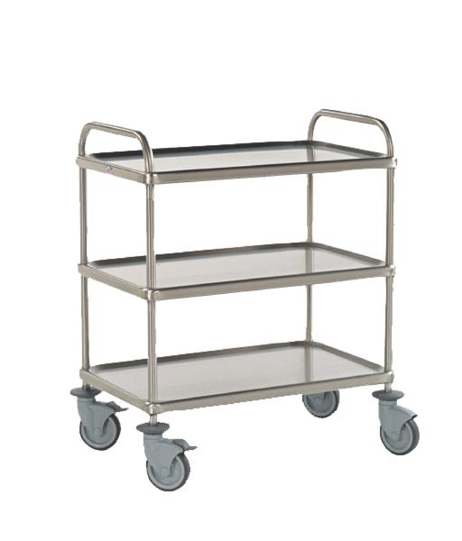 Three level stainless steel dining cart